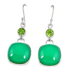 925 sterling silver natural green chrysoprase peridot dangle earrings k41310