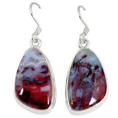 Natural brown picture jasper 925 sterling silver dangle earrings jewelry k42066