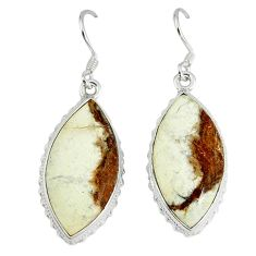 Natural white wild horse magnesite 925 silver dangle earrings jewelry k42080