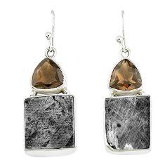 Natural grey meteorite smoky topaz 925 silver dangle earrings jewelry k42661