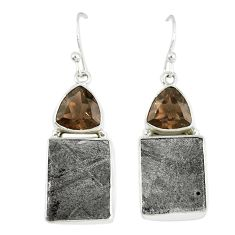 Natural grey meteorite smoky topaz 925 silver dangle earrings jewelry k42662