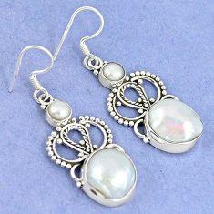 925 sterling silver natural white biwa pearl pearl dangle earrings k43064