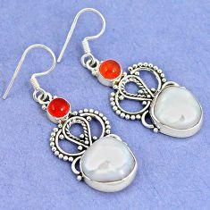Natural white biwa pearl orange carnelian 925 silver dangle earrings k43070