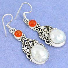 Natural white biwa pearl carnelian 925 silver dangle earrings k43071