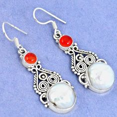 925 silver natural white biwa pearl carnelian dangle earrings jewelry k43073