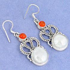 Natural white biwa pearl carnelian 925 silver dangle earrings jewelry k43078