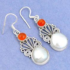 Natural white biwa pearl carnelian 925 silver dangle earrings jewelry k43080