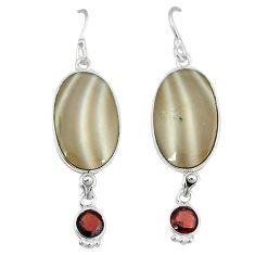 925 sterling silver natural grey striped flint ohio dangle earrings k45245
