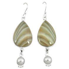 Natural grey striped flint ohio white pearl 925 silver dangle earrings k45246