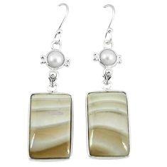 925 silver natural grey striped flint ohio pearl dangle earrings jewelry k45247
