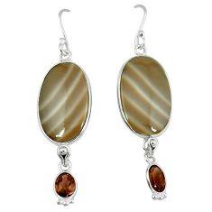 Natural grey striped flint ohio oval 925 silver dangle earrings jewelry k45248