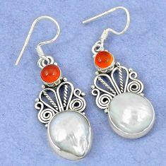 Natural white biwa pearl cornelian (carnelian) 925 silver dangle earrings k45583
