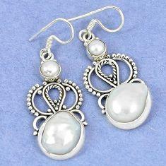 Natural white biwa pearl pearl 925 sterling silver dangle earrings k45591