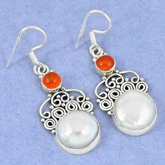 925 silver natural white biwa pearl cornelian (carnelian) dangle earrings k45598