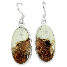 Natural bronze wild horse magnesite 925 silver dangle earrings jewelry k45692