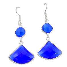 Blue jade fancy 925 sterling silver dangle earrings jewelry k54978