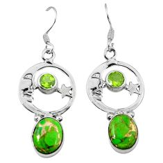 Green copper turquoise 925 silver crescent moon star earrings k61940