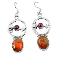 Red copper turquoise 925 silver crescent moon star earrings k61942