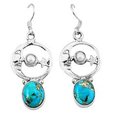 925 silver blue copper turquoise crescent moon star earrings k61944
