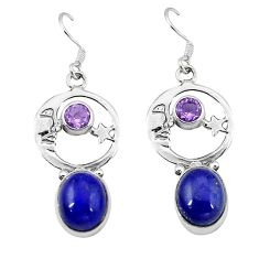 Natural blue lapis lazuli 925 silver crescent moon star earrings k61955