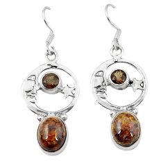 Natural brown pietersite (african) 925 silver crescent moon star earrings k61962