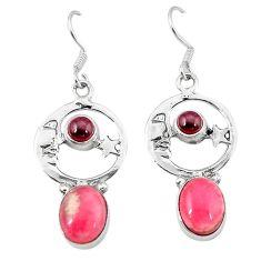 Pink rhodochrosite inca rose 925 silver crescent moon star earrings k62010