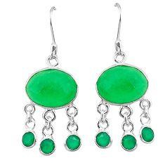 Clearance-Green jade chalcedony 925 sterling silver chandelier earrings k62432