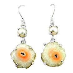 Natural white solar eye pearl 925 silver dangle earrings jewelry k77281