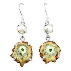 Natural white solar eye pearl 925 silver dangle earrings jewelry k77282
