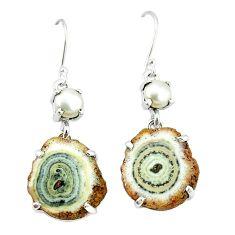 Natural white solar eye pearl 925 sterling silver dangle earrings k77283