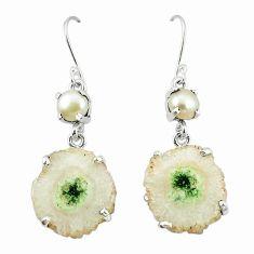 Natural white solar eye pearl 925 sterling silver dangle earrings k77287