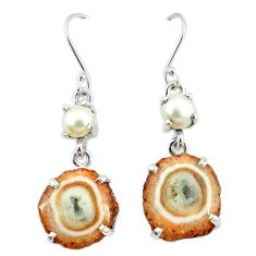 925 sterling silver natural white solar eye pearl dangle earrings k77289