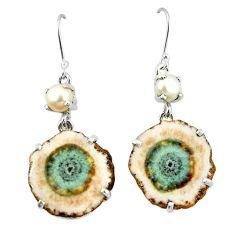 Natural white solar eye white pearl 925 silver dangle earrings jewelry k77290