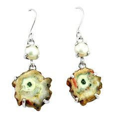 Natural white solar eye pearl 925 sterling silver dangle earrings k77291