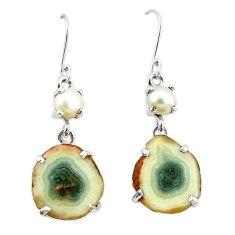 Natural white solar eye pearl 925 silver dangle earrings jewelry k77292