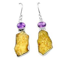 Natural libyan desert glass (gold tektite) 925 silver dangle earrings k77642