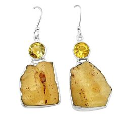 Natural libyan desert glass (gold tektite) 925 silver dangle earrings k77643