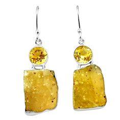 Natural libyan desert glass (gold tektite) 925 silver dangle earrings k77645