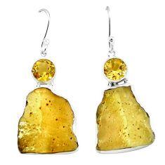 Natural libyan desert glass (gold tektite) 925 silver dangle earrings k77646