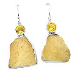 925 silver natural libyan desert glass (gold tektite) dangle earrings k77647