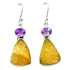Natural libyan desert glass (gold tektite) 925 silver dangle earrings k77648