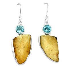 Natural libyan desert glass (gold tektite) 925 silver dangle earrings k77649