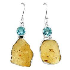 Natural libyan desert glass (gold tektite) 925 silver dangle earrings k77651