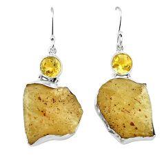 Natural libyan desert glass (gold tektite) 925 silver dangle earrings k77652