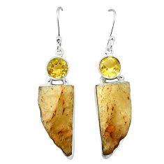 925 silver natural libyan desert glass (gold tektite) dangle earrings k77653