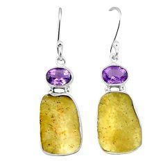 Natural libyan desert glass (gold tektite) 925 silver dangle earrings k77655
