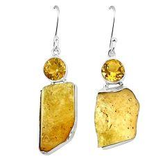 Natural libyan desert glass (gold tektite) 925 silver dangle earrings k77657