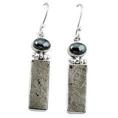 Natural grey meteorite hematite 925 sterling silver earrings k80241
