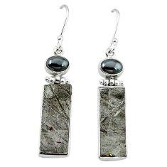 Natural grey meteorite hematite 925 sterling silver earrings jewelry k80244