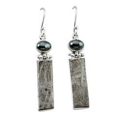 Natural grey meteorite hematite 925 sterling silver earrings k80246